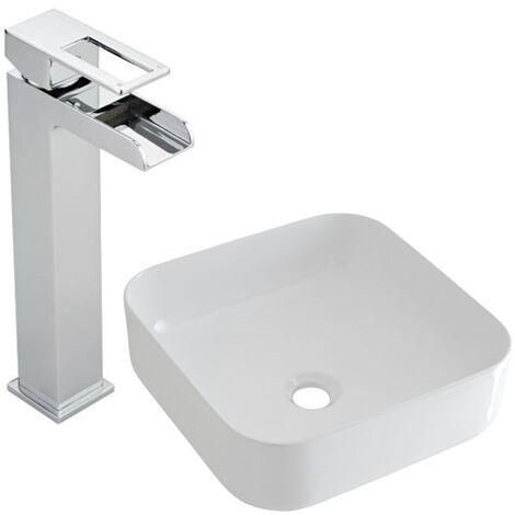Milano Longton - Modern White Ceramic 360mm Square Countertop Bathroom Basin Sink and High Rise Waterfall Mono Basin Mixer Tap
