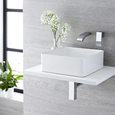 Milano Longton - Modern White Ceramic 360mm Square Countertop Bathroom Basin Sink and Wall Mounted Basin Mixer Tap