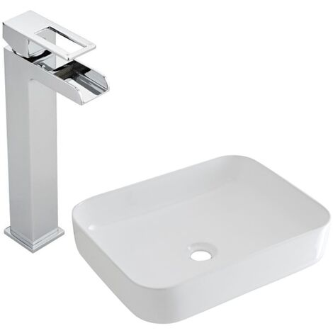 Milano Longton - Modern White Ceramic 500mm x 390mm Rectangular Countertop Bathroom Basin Sink and High Rise Waterfall Mono Basin Mixer Tap