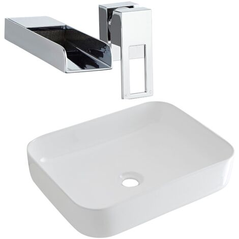 Milano Longton - Modern White Ceramic 500mm x 390mm Rectangular Countertop Bathroom Basin Sink and Wall Mounted Waterfall Basin Mixer Tap