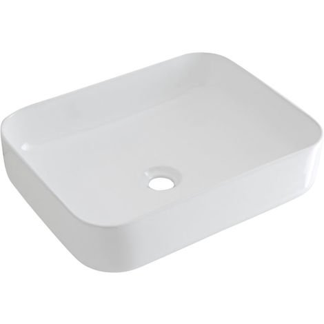 Milano Longton - Modern White Ceramic Rectangular Countertop Bathroom Basin Sink - 500mm x 400mm