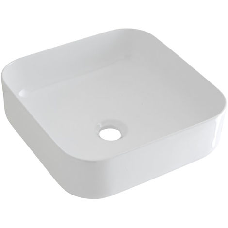 Milano Longton Square White Ceramic Counter Top Basin - 400 mm
