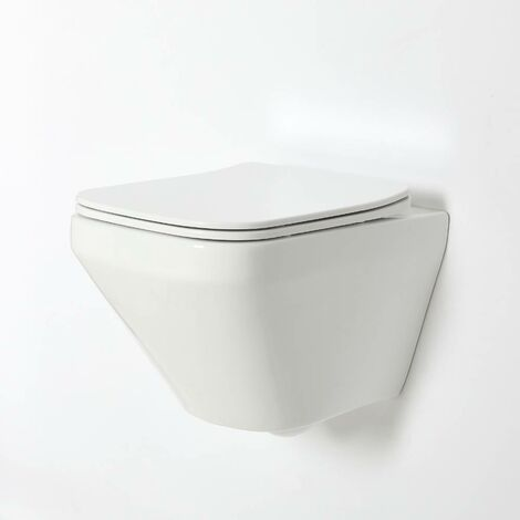 Milano Longton - White Ceramic Modern Bathroom Wall Hung Square Rimless Toilet WC with Soft Close Seat