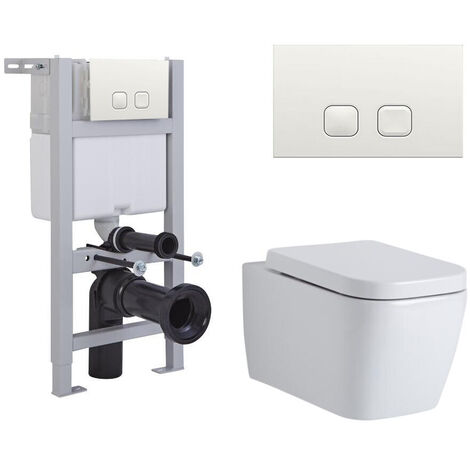 Milano Longton - White Ceramic Modern Bathroom Wall Hung Square Toilet WC with Short Wall Frame Cistern and Flush Plate
