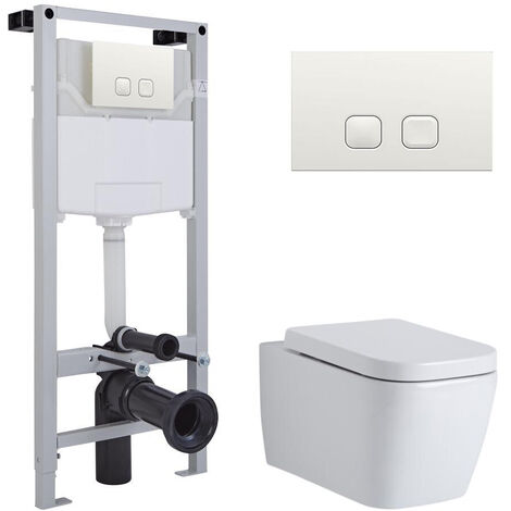 Milano Longton - White Ceramic Modern Bathroom Wall Hung Square Toilet WC with Tall Wall Frame Cistern and Flush Plate
