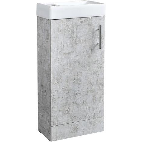 Milano Lurus - Concrete Grey 400mm Compact Bathroom Cloakroom Vanity Unit with Basin