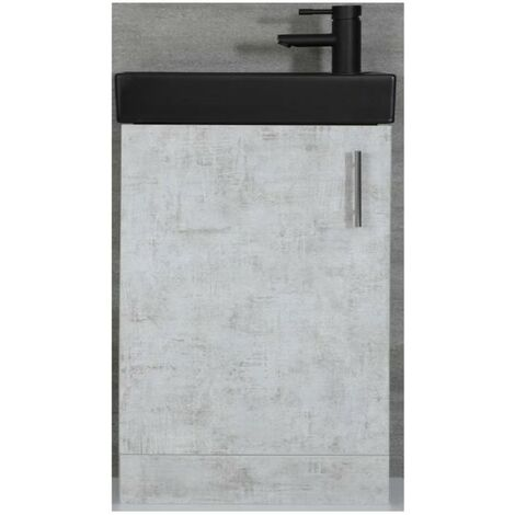 Milano Lurus - Concrete Grey 400mm Compact Bathroom Cloakroom Vanity Unit with Black Basin