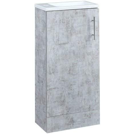 Milano Lurus - Concrete Grey 400mm Compact Bathroom Cloakroom Vanity Unit with Slimline Basin