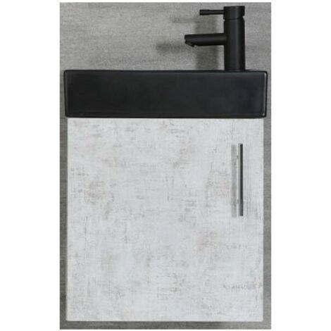 Milano Lurus - Concrete Grey 400mm Compact Wall Hung Bathroom Cloakroom Vanity Unit with Black Basin