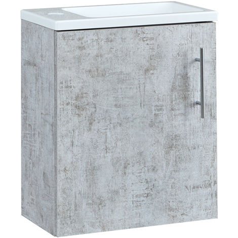 Milano Lurus - Concrete Grey 400mm Compact Wall Hung Bathroom Cloakroom Vanity Unit with Slimline Basin