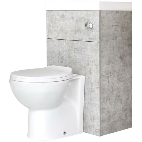 Milano Lurus - Concrete Grey Modern Bathroom Combination Basin Sink and Toilet WC Unit with Back to Wall Pan, Soft Close Seat and Dual Flush Cistern - 502mm x 890mm