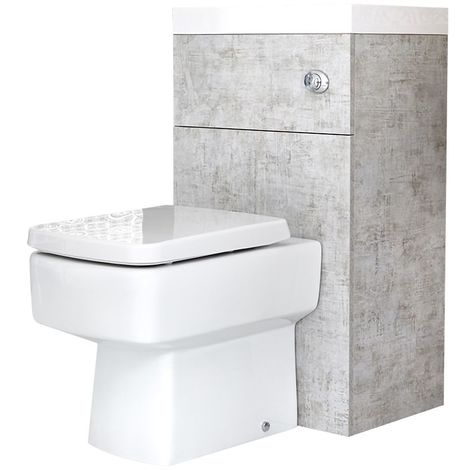 Milano Lurus - Concrete Grey Modern Square Bathroom Combination Basin Sink and Toilet WC Unit with Back to Wall Pan, Soft Close Seat and Dual Flush Cistern - 502mm x 890mm