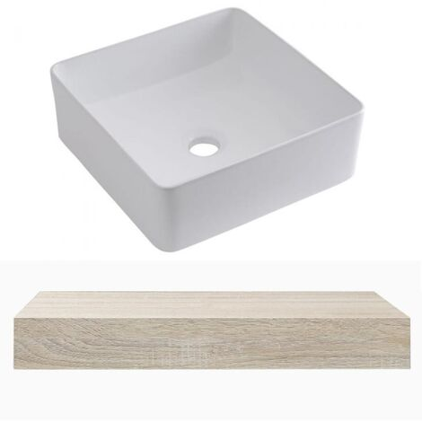 Milano Lurus - Modern 600mm Wall Mounted Bathroom Floating Shelf and Square Countertop Basin Sink - Oak