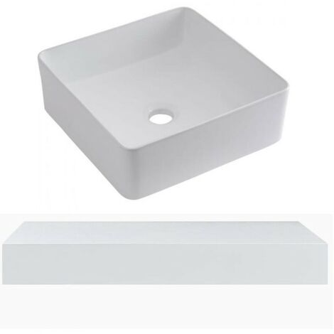 Milano Lurus - Modern 600mm Wall Mounted Bathroom Floating Shelf and Square Countertop Basin Sink - White