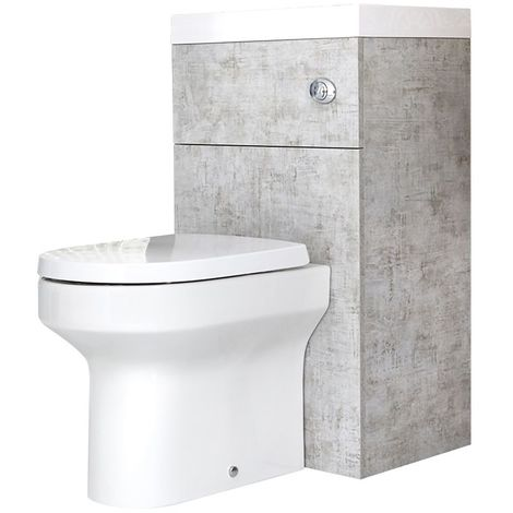 Milano Lurus - Modern Concrete Grey Bathroom Toilet WC and Basin Combination Unit - 502mm x 890mm