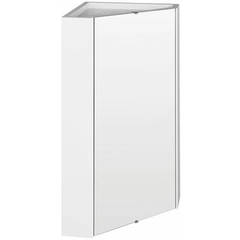 Milano Lurus - Modern White Wall Mounted Bathroom Mirrored Corner Cabinet - 650mm x 459mm