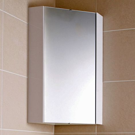 Milano Lurus - Modern White Wall Mounted Bathroom Mirrored Corner Cabinet - 650mm x 459mm