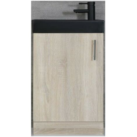 Milano Lurus - Oak 400mm Compact Bathroom Cloakroom Vanity Unit with Black Basin