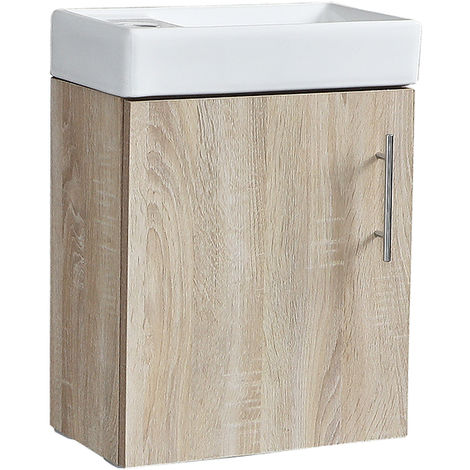 Milano Lurus - Oak 400mm Compact Wall Hung Bathroom Cloakroom Vanity Unit with Basin