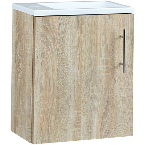 Milano Lurus - Oak 400mm Compact Wall Hung Bathroom Cloakroom Vanity Unit with Slimline Basin