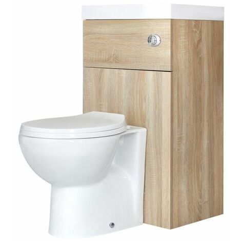 Milano Lurus - Oak Modern Bathroom Combination Basin and Toilet WC Unit - 500mm x 890mm