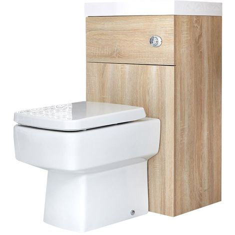 Milano Lurus - Oak Modern Square Bathroom Basin and Toilet WC Combination Unit - 502mm x 890mm