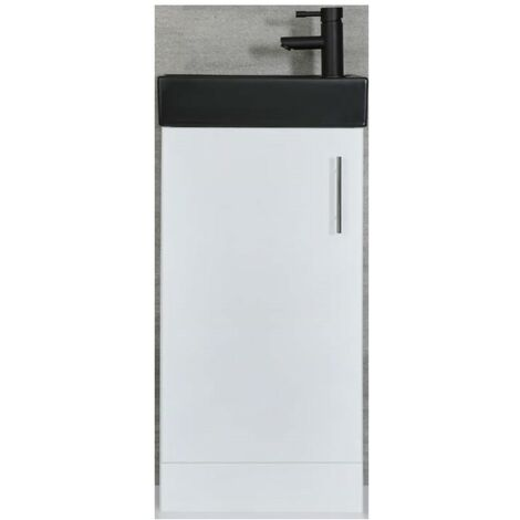 Milano Lurus - White 400mm Compact Bathroom Cloakroom Vanity Unit with Black Basin