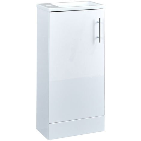 Milano Lurus - White 400mm Compact Bathroom Cloakroom Vanity Unit with Slimline Basin