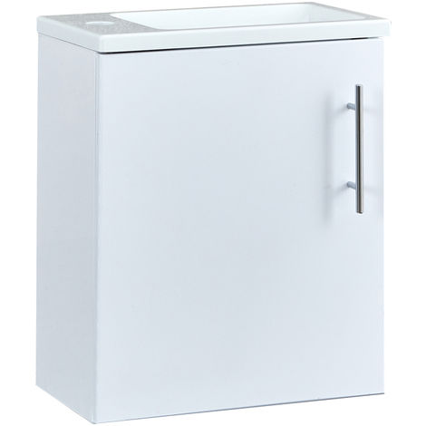 Milano Lurus - White 400mm Compact Wall Hung Bathroom Cloakroom Vanity Unit with Slimline Basin
