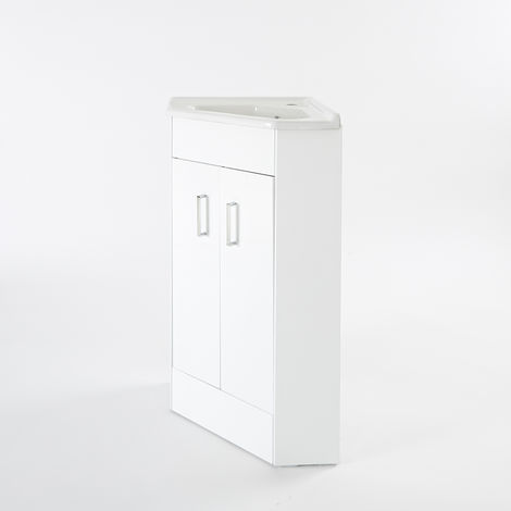 Milano Lurus - White 555mm Bathroom Corner Vanity Unit with Basin