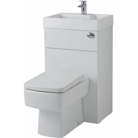 Milano Lurus - White Modern Square Bathroom Combination Basin Sink and Toilet WC Unit with Back to Wall Pan, Soft Close Seat and Dual Flush Cistern - 502mm x 890mm