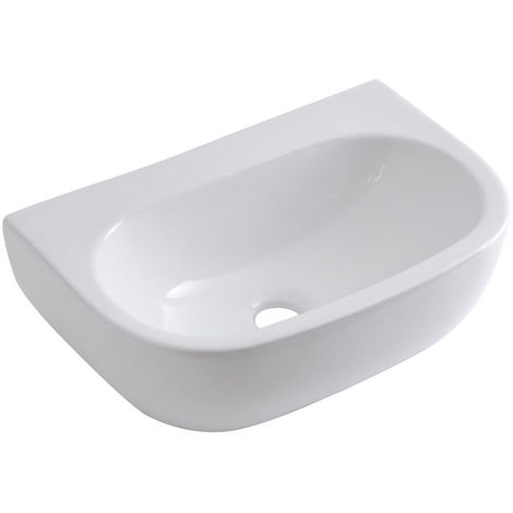 Milano Mellor White Ceramic Wall Hung Counter Top Basin - 420 x 280 mm