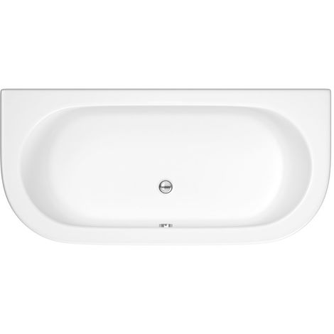 Milano Mellor - White Modern Bathroom Curved D-Shape Double Ended Bath and Panel - 1700mm x 800mm