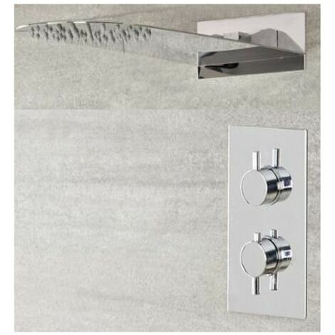 Milano Mirage - Modern 1 Outlet Twin Thermostatic Mixer Shower Valve with Wall Mounted 200mm x 500mm Thin Rainfall Shower Head - Chrome