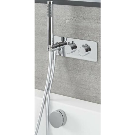 Milano Mirage - Modern 2 Outlet Twin Diverter Thermostatic Mixer Shower Valve with Hand Shower Handset and Overflow Bath Filler Tap- Chrome