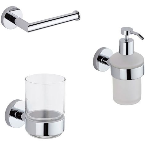 Milano Mirage - Modern 3 Piece Bathroom Accessory Set with Toilet Roll Holder, Tumbler and Soap Dispenser - Chrome