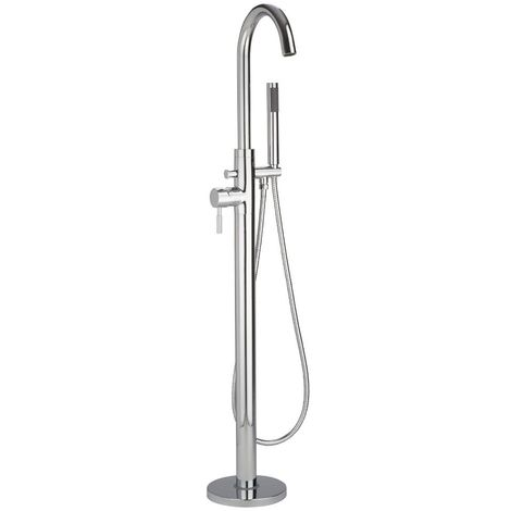 Milano Mirage - Modern Freestanding Bath Shower Mixer Tap with Hand Shower Handset - Chrome