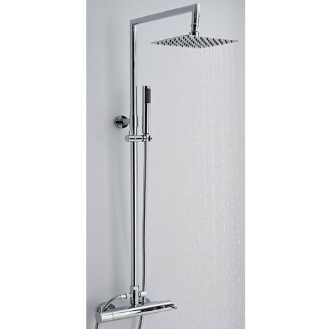Milano Mirage - Modern Thermostatic Bar Mixer Shower Valve with 200mm Square Fixed Rainfall Shower Head and Hand Shower Handset Rigid Riser Kit - Chrome