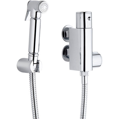 Milano Mirage - Modern Thermostatic Douche Shower Toilet Kit with Wall Bracket - Chrome