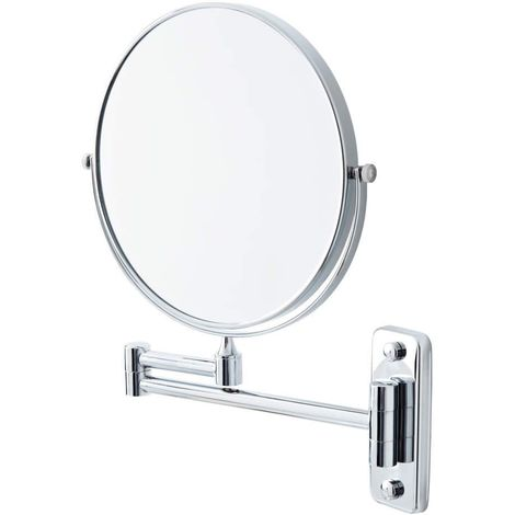 Milano Mirage - Modern Wall Mounted Round Double Sided Extendable Bathroom Shaving Vanity Mirror with 2x Magnification – Chrome