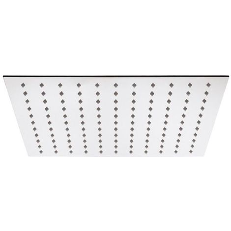 Milano - Modern 400mm Square Ultra Thin Fixed Rainfall Shower Head - Chrome