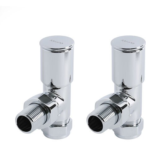 Milano - Modern Angled Chrome Heated Towel Rail Radiator Valves - Pair
