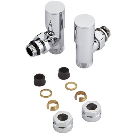 Milano – Modern Chrome Angled Heated Towel Rail Radiator Valves with 15mm Copper Adapters – Pair