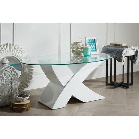 "Milano Modern White Oval ""X"" High Gloss Coffee Table"