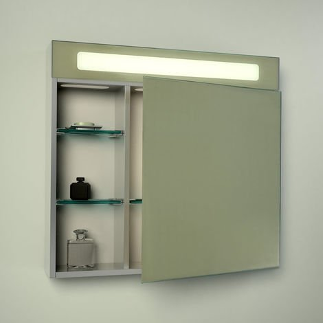 Milano Moselle - 12W LED IP44 Bathroom Mirror Cabinet with Sweep Sensor & 3 Glass Shelves