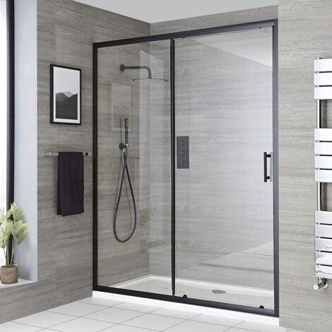 Milano Nero - 1000mm Reversible Wet Room Shower Enclosure Sliding Door with Side Panel - Black