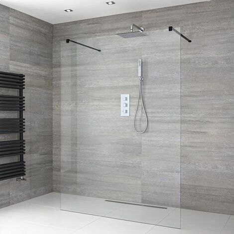 Milano Nero - 1400mm Floating Glass Walk In Wet Room Shower Enclosure with Screen  Support Arms and Shower Drain - Black