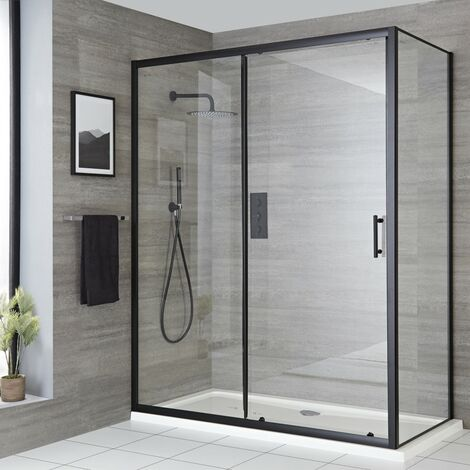 Milano Nero - 1500mm Reversible Wet Room Shower Enclosure Sliding Door with Side Panel - Black