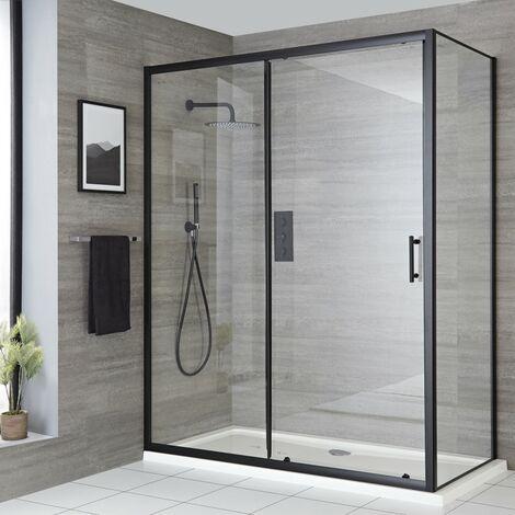 Milano Nero - 1600mm Reversible Wet Room Shower Enclosure Sliding Door with Side Panel - Black