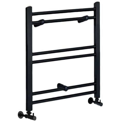 Milano Nero - 600mm x 400mm Modern Flat Bar Heated Towel Rail Radiator – Black